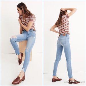 "MADEWELL 9"" High-Rise Skinny Jeans Distressed-Hem"